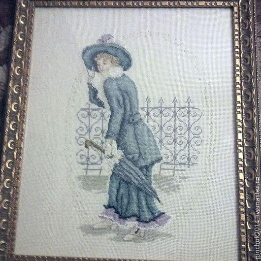 Викторианская дама с зонтиком. Вышивка отличного качества, впишется в самый изысканный интерьер. Множество деталей, которые можно рассматривать бесконечно долго.