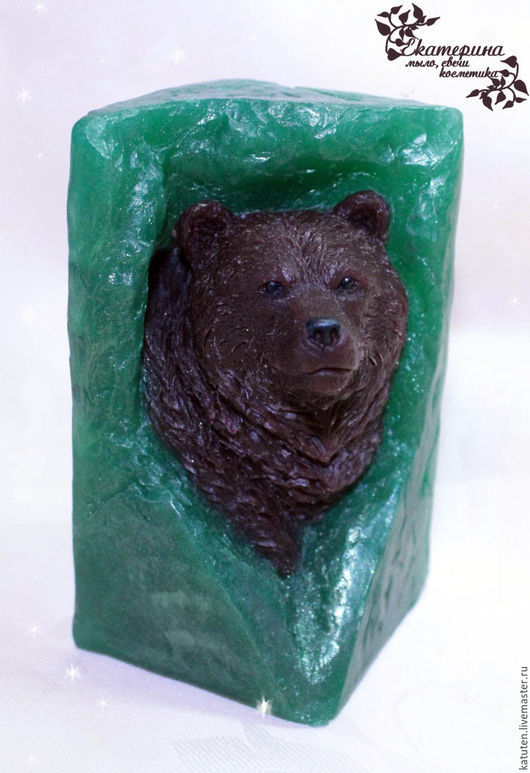 Мыло ручной работы. Ярмарка Мастеров - ручная работа. Купить Мыло Бурый медведь в зеленом лесу. Handmade. Тёмно-зелёный