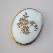 Материалы для творчества handmade. Livemaster - original item Large vintage cabochon 40h30 mm color Gold Floral. Handmade.