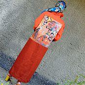 Одежда ручной работы. Ярмарка Мастеров - ручная работа Платье-рубашка из натурального льна с ручной  росписью (330). Handmade.