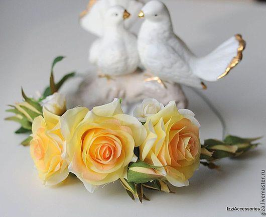 """Диадемы, обручи ручной работы. Ярмарка Мастеров - ручная работа. Купить Венок """"Желтые розы"""", венок для фотосессии, венок на голову. Handmade."""
