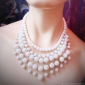Украшения handmade. Livemaster - original item Necklace white agate