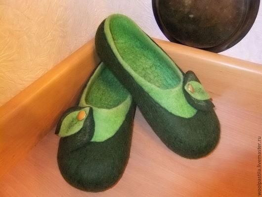 Обувь ручной работы. Ярмарка Мастеров - ручная работа. Купить Валяные тапочки Ирландия. Handmade. Тёмно-зелёный, зеленый цвет