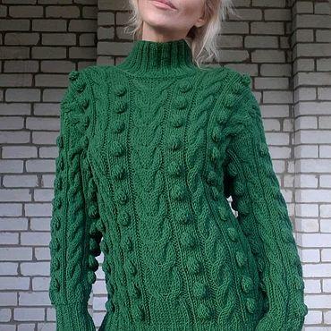 Одежда ручной работы. Ярмарка Мастеров - ручная работа Свитер  Зеленый женский вязаный косами. Handmade.