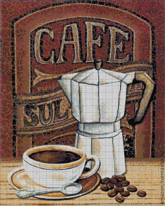 """Набор   """" Кофе  """"       Чешский бисер, 33  цвета  ,      Размер готовой работы  45 х 57  см.   Размер в стежках  250 х 312 бусинок     Цена полного набора 5690 руб."""