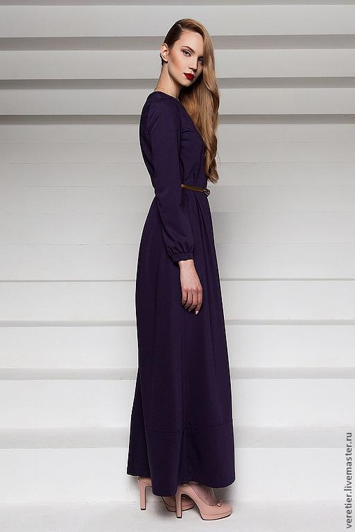 Платья ручной работы. Ярмарка Мастеров - ручная работа. Купить Длинное платье в пол LDV. Handmade. Тёмно-фиолетовый, стиль