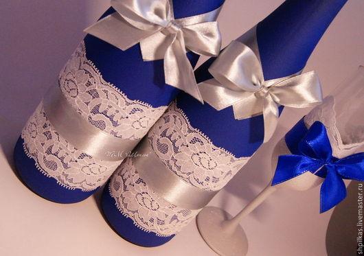 """Свадебные аксессуары ручной работы. Ярмарка Мастеров - ручная работа. Купить Свадебный набор  """"Синее серебро"""". Handmade. Тёмно-синий"""