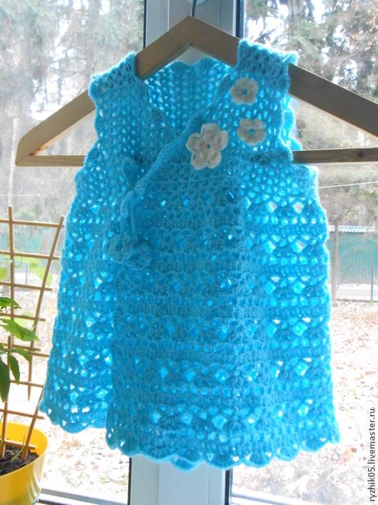 Одежда для девочек, ручной работы. Ярмарка Мастеров - ручная работа. Купить Платье-сарафан, вязаное крючком. Handmade. Тёмно-бирюзовый