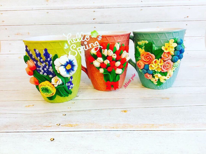 Цветочные композиции на кружках, Кружки и чашки, Выборг,  Фото №1
