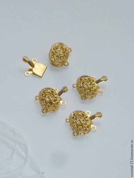 Замок для украшений Цветок в овале (пряжка) на 2 нити 14x20x6 мм цвет золото.