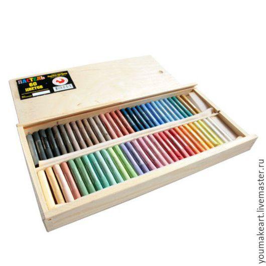 Декупаж и роспись ручной работы. Ярмарка Мастеров - ручная работа. Купить Набор сухой пастели (60 цветов) в деревянной коробке. Handmade.