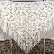 Аксессуары handmade. Livemaster - original item MARCELA crocheted shawl 220*115 cm Triangular with tassels #041. Handmade.