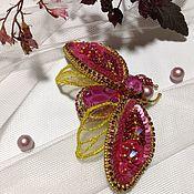 Украшения handmade. Livemaster - original item Brooch fly Pink and gold.. Handmade.