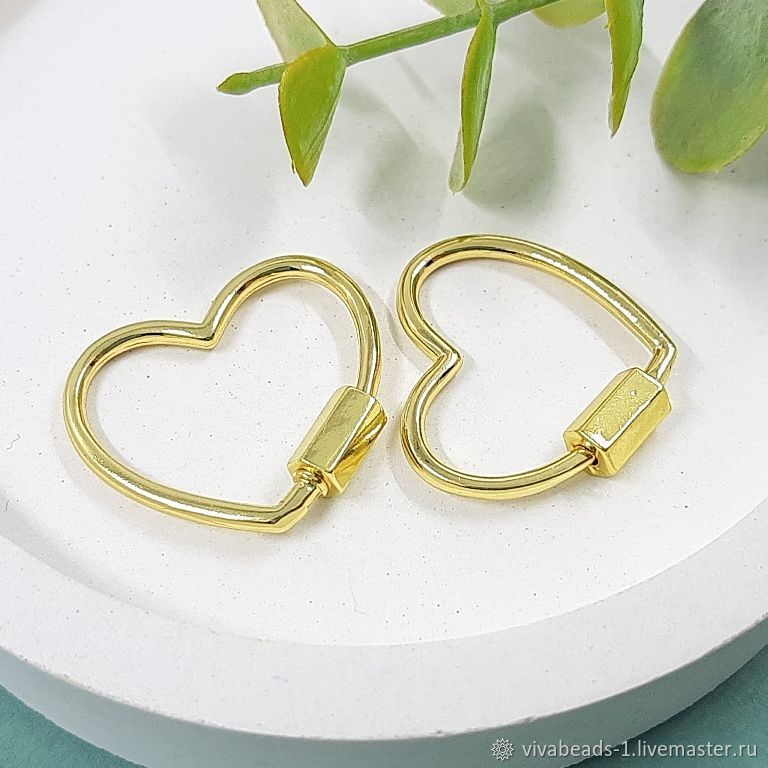 Lock Carabiner Heart 21.5x24x2. 5483 mm gold plated (), Accessories4, Voronezh,  Фото №1