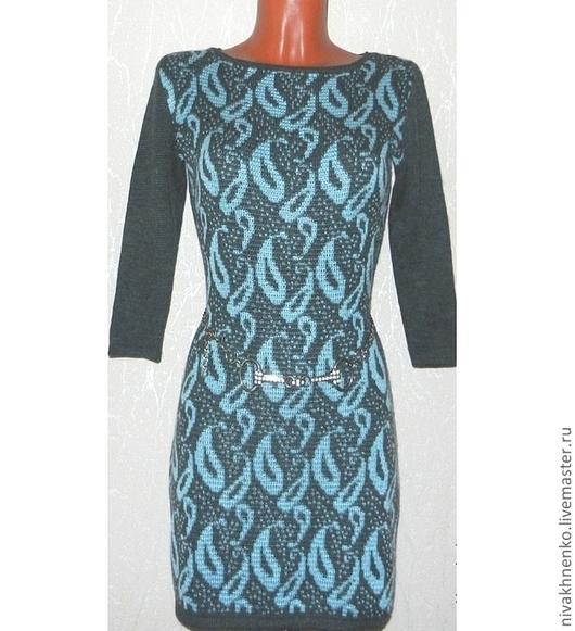 Платья ручной работы. Ярмарка Мастеров - ручная работа. Купить Платье вязаное Восточный огурец. Handmade. Платье, теплое платье