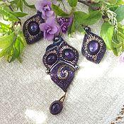 Украшения handmade. Livemaster - original item Pendant with pendant-lilac Natur. amethyst, purple beads, pearls. Handmade.