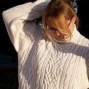 Одежда ручной работы. Ярмарка Мастеров - ручная работа Большой размер! Мужской шерстяной вязаный свитер с аранами.. Handmade.