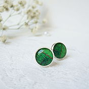 Украшения handmade. Livemaster - original item Stud earrings Leaf is 10 mm (studs) Bright Green Leaf Nature. Handmade.