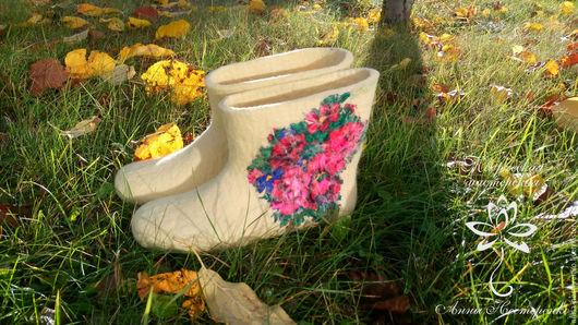 """Обувь ручной работы. Ярмарка Мастеров - ручная работа. Купить Домашние валенки """"Осенний букет"""". Handmade. Кремовый, домашние валенки"""