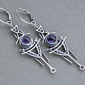 Украшения handmade. Livemaster - original item Shuttle - Sterling silver dangle earrings with amethyst cabochons. Handmade.