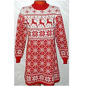 Одежда handmade. Livemaster - original item Dress with reindeer and Norwegian ornaments knitted Christmas. Handmade.