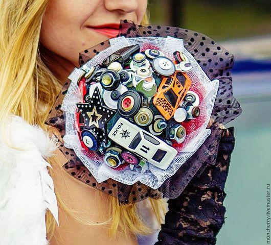 Свадебные цветы ручной работы. Ярмарка Мастеров - ручная работа. Купить Необычный брошь-букет для авто-мото свадьбы, авто букет. Handmade.