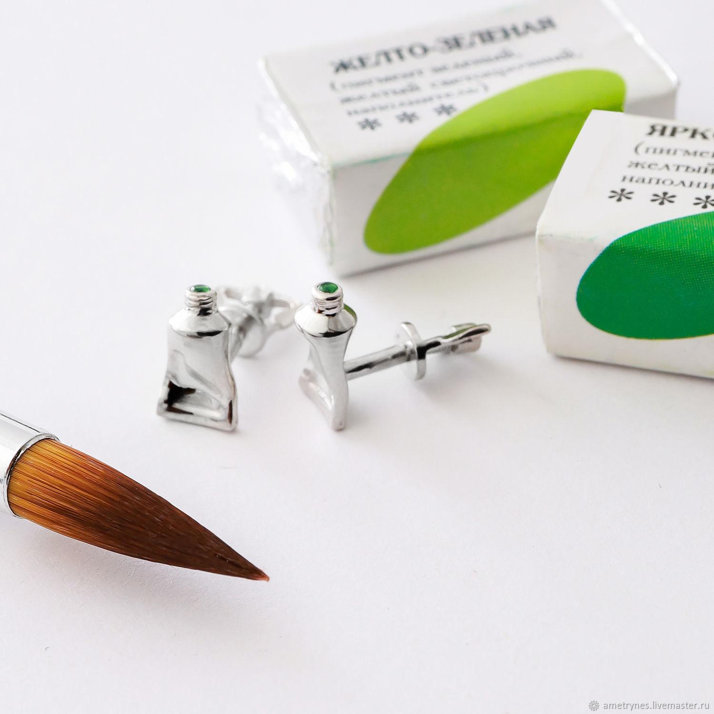 earrings: Tubes, silver, Stud earrings, Kostroma,  Фото №1