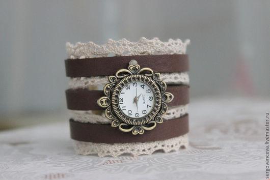 """Часы ручной работы. Ярмарка Мастеров - ручная работа. Купить Часы """"Ажур"""". Handmade. Коричневый, кружево, романтический стиль"""