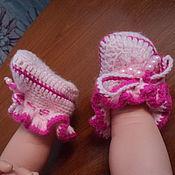 Работы для детей, ручной работы. Ярмарка Мастеров - ручная работа Розовые пинетки. Handmade.