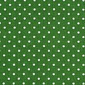 Материалы для творчества ручной работы. Ярмарка Мастеров - ручная работа Ткань Хлопок Горошек мелкий Темно-зеленый. Handmade.