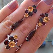 Украшения handmade. Livemaster - original item My lady-earrings and ring rauchtopas, citrines and garnets. Handmade.