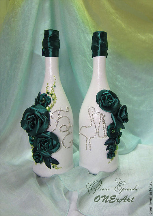 Подарки для влюбленных ручной работы. Ярмарка Мастеров - ручная работа. Купить Изумрудный букет (оформление шампанского). Handmade. Зеленый, изысканный