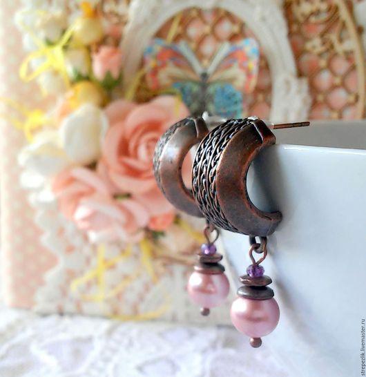 Серьги ручной работы. Ярмарка Мастеров - ручная работа. Купить Серьги с жемчугом Майорка. Handmade. Розовый, серьги с камнями, жемчуг