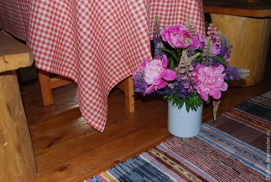 """Текстиль, ковры ручной работы. Ярмарка Мастеров - ручная работа. Купить Скатерть """"её величество - клетка"""". Handmade. Ярко-красный"""