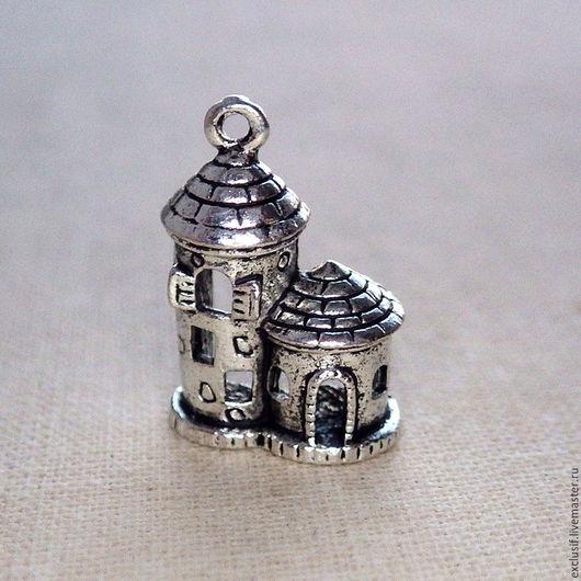 Фурнитура для украшений - дом, замок - подвеска объемная 3D для кулона, браслета, брелока. Подвеску можно использовать как аксессуар для игрушек или в скрапбукинге. Купить подвеску дом, домик, замок