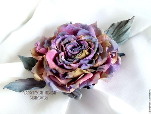 """Цветы ручной работы. Ярмарка Мастеров - ручная работа. Купить Шелковая роза """"Аврора"""". Заколка-брошь.. Handmade. Комбинированный"""