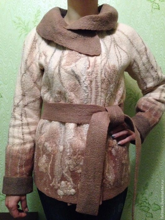 Верхняя одежда ручной работы. Ярмарка Мастеров - ручная работа. Купить Валяная курточка Крем-Брюле. Handmade. Бежевый, шёлк