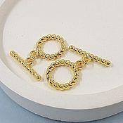 Материалы для творчества handmade. Livemaster - original item TOGGLE Lock Twisted ring 15 mm gold-plated (5401-Z). Handmade.