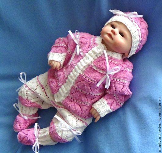 Одежда ручной работы. Ярмарка Мастеров - ручная работа. Купить Комплект ажурный вязаный на малышку. Handmade. Бело-розовый