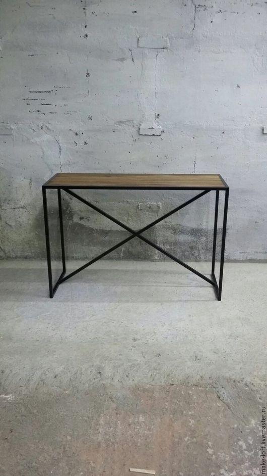 Мебель ручной работы. Ярмарка Мастеров - ручная работа. Купить Консоль в индустриальном стиле. Handmade. Коричневый, металл, винтаж, дерево