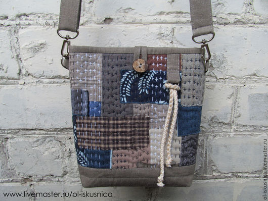 Женские сумки ручной работы. Ярмарка Мастеров - ручная работа. Купить Сумка лоскутная Боро сумка пэчворк. Handmade.