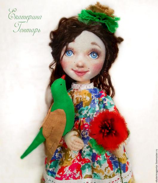 Коллекционные куклы ручной работы. Ярмарка Мастеров - ручная работа. Купить Анюта. Текстильная интерьерная кукла с красным маком.. Handmade.