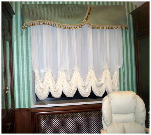 Текстиль, ковры ручной работы. Ярмарка Мастеров - ручная работа. Купить Австрийская штора в кабинет №21. Handmade. Белый