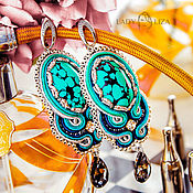 Украшения handmade. Livemaster - original item Soutache earrings with turquoise Lagoon. Handmade.