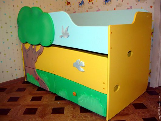 Детская ручной работы. Ярмарка Мастеров - ручная работа. Купить Двухъярусная выдвижная кровать. Handmade. Комбинированный, закат