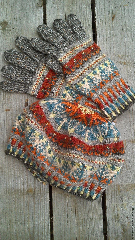 шерстяной вязаный комплект из берета и перчаток – купить в ...