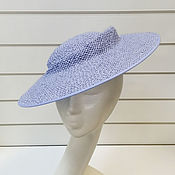 handmade. Livemaster - original item Straw hat of Aset. Color blue. Handmade.