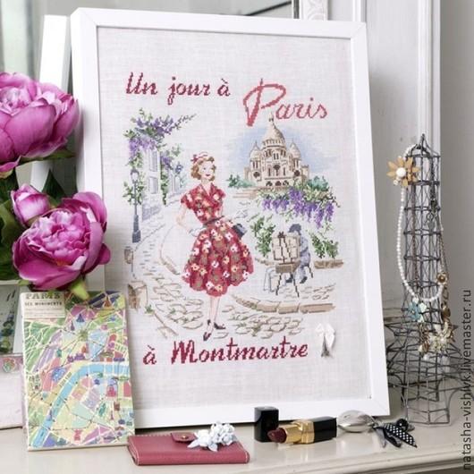 Вышивка ручной работы. Ярмарка Мастеров - ручная работа. Купить Монмартр день в Париже для вышивания крестом. Handmade. Разноцветный