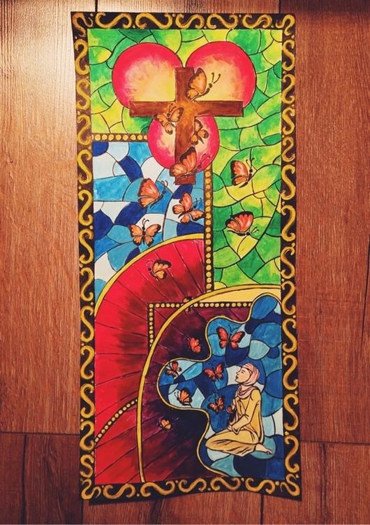 """Символизм ручной работы. Ярмарка Мастеров - ручная работа. Купить Картина """"Вера в любовь"""". Handmade. Символизм, картина для интерьера, женщина"""