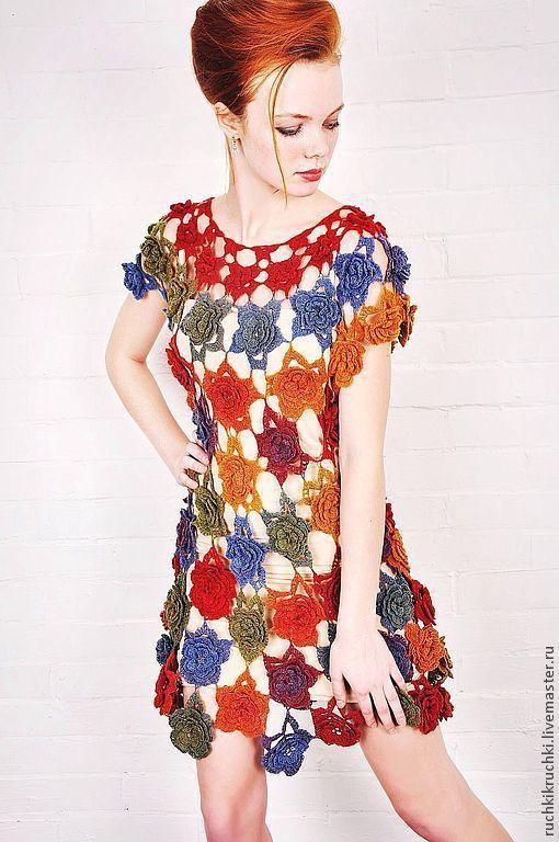 """Платья ручной работы. Ярмарка Мастеров - ручная работа. Купить Платье """"Ты дарила мне розы"""" крючком из тонкой шерсти. Handmade."""